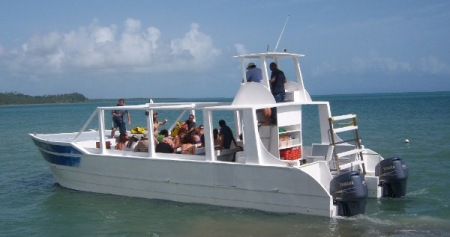 We operate the catamaran Sonia from a private dock in Miches.